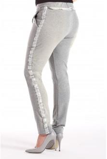 Szare (melanż) spodnie dresowe z lampasem MOLY