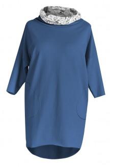 Długa bluza z kapturem (wzór rowery) LILY - kolor jeansowy