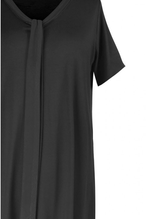 Czarna rozkloszowana sukienka z wiązaniem PATRICIA