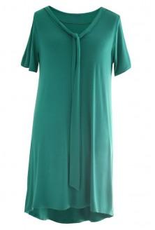 Zielona rozkloszowana sukienka z wiązaniem PATRICIA