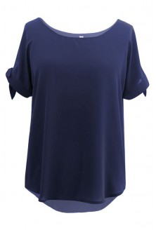 Granatowa szyfonowa bluzka - LARISS