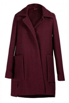 BORDOWY płaszcz z dużymi kieszeniami ESTELLA