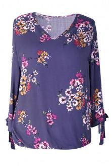 Granatowa bluzka w kwiatki - KELLY