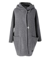 Szary płaszcz oversize z kapturem TIFFANY