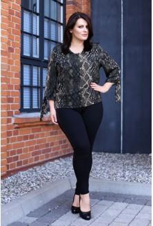 Zielono-czarno-beżowa bluzka wzór - KELLY