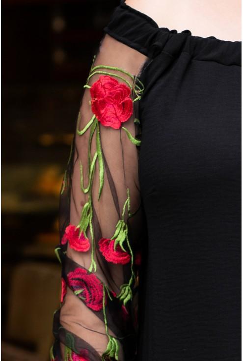 Czarna sukienka hiszpanka z koronką - MIRELLA