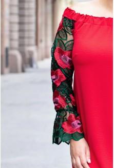 CZERWONA sukienka hiszpanka z koronką - MIRELLA