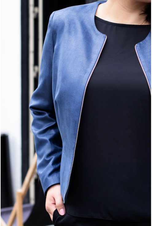 Żakiet z eco skóry chanelka - ALBA kolor jeansowy