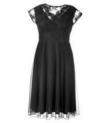 Czarna wieczorowa sukienka z koronką LUCILLE