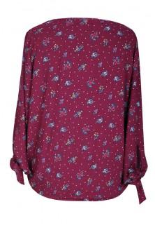 Bordowa bluzka w kwiatki - KELLY