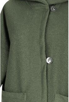 Oliwkowy płaszcz oversize z kapturem TIFFANY
