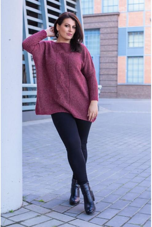 Sweter z warkoczem AGNIESZKA - bordo