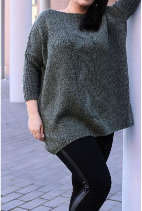 Sweter z warkoczem AGNIESZKA - butelkowa zieleń