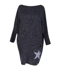 Grafitowy sweter  z kieszonką GWIAZDA