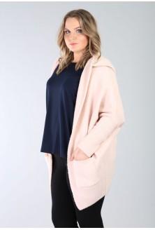 Pudrowo-różowy sweter niezapinany z kapturem SHIRLEY