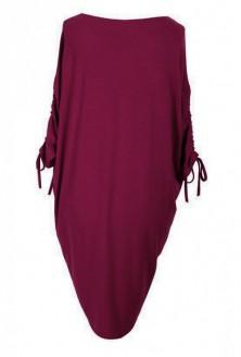 Bordowo-śliwkowa sukienka ze ściąganym rękawem – ESME