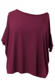 BORDOWO-ŚLIWKOWA bluzka oversize DAGMARA II (ciepły materiał)