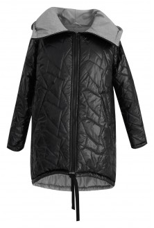 Czarna ciepła kurtka z przeszyciami VIOLA