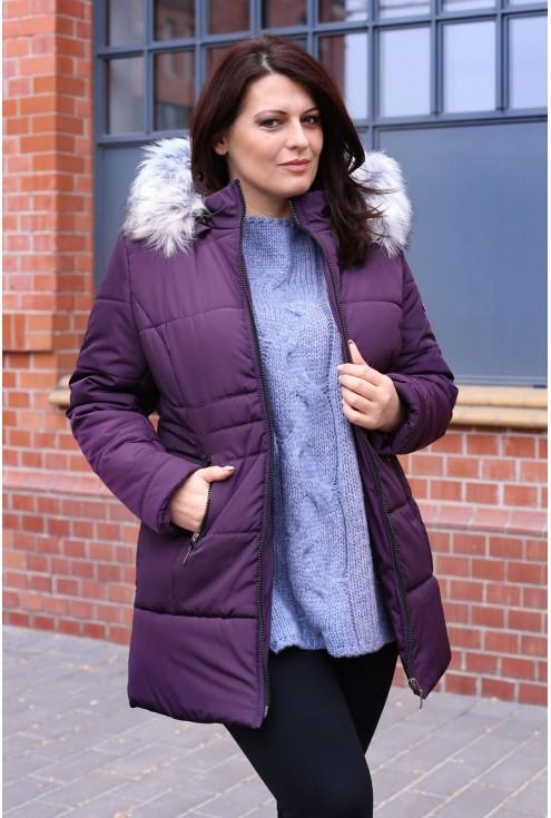 Fioletowo-bordowy płaszcz pikowany  PUMA II