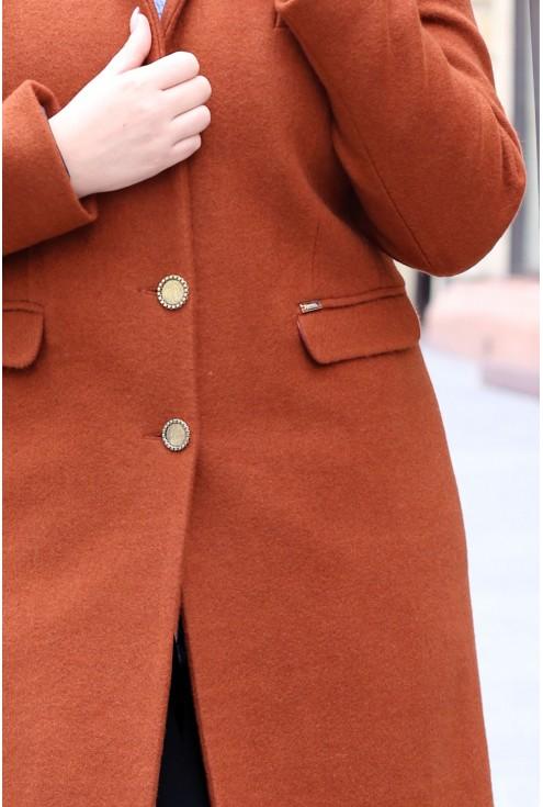Rudy klasyczny płaszczyk LENA