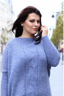 Sweter z warkoczem AGNIESZKA - jasny jeans