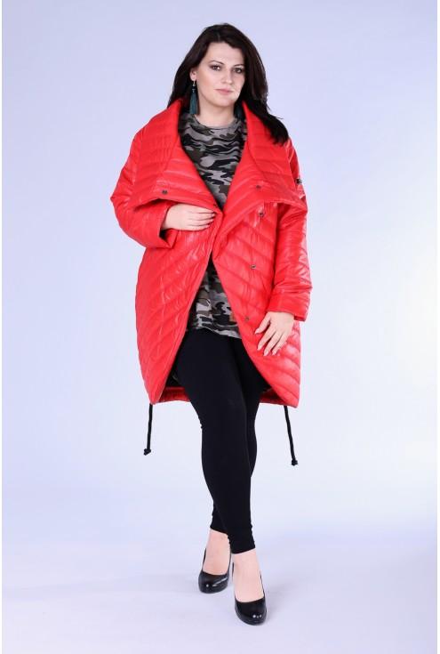 Czerwona kurtka z przeszyciami XXL DINAH