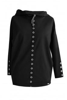 czarna bluza z kapturem plus size