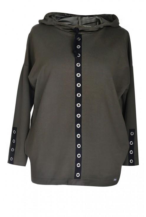 Oliwkowa bluzka / bluza z kółkami MARTHA