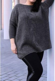Sweter z warkoczem AGNIESZKA - GRAFIT