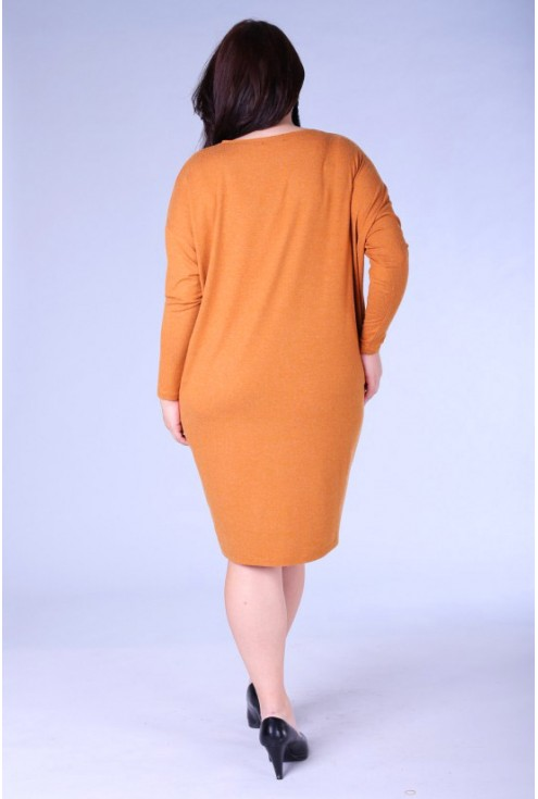 Camelowa sukienka oversize z długim rękawem - SUSAN 2