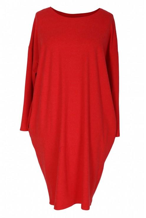Czerwona sukienka oversize z długim rękawem - YVETTE