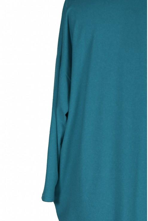 Morska sukienka oversize z długim rękawem - YVETTE