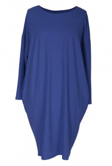 Chabrowa sukienka oversize z długim rękawem - YVETTE