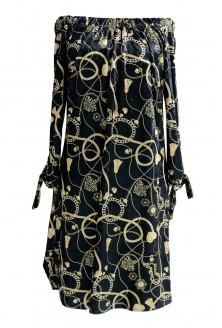Czarna sukienka hiszpanka MARITA - złoty wzór
