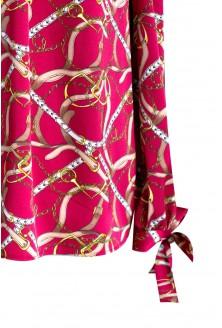 Bordowa bluzka hiszpanka z długim rękawem MARCELA - wzór łańcuch
