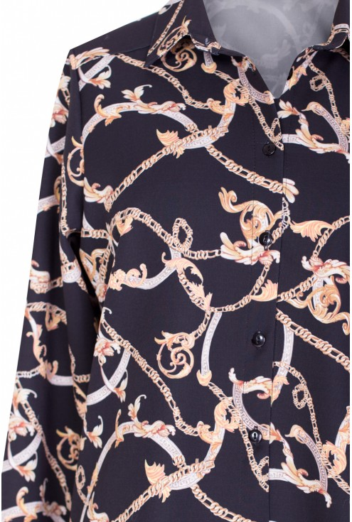 Czarna koszula z wzorem ADELINE