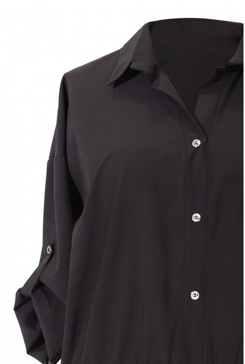 Czarna bluzka / koszula z falbanką SABRINA