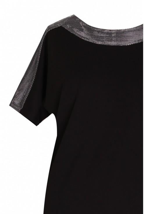 Czarna wieczorowa błyszcząca sukienka - MIREIA
