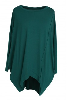 Zielona tunika asymetryczna Lori - długi rękaw