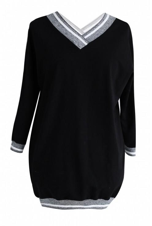 Czarna dresowa bluza ze ściągaczem GRAFIT- INA