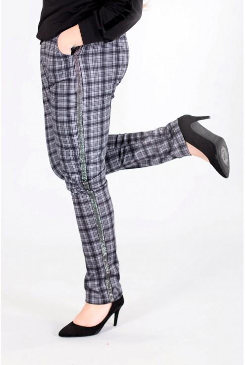 Grafitowe spodnie w kratkę KAMA - niebieski