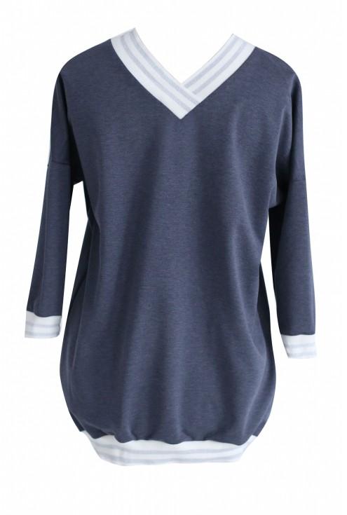 Szara dresowa bluza ze ściągaczem ECRU - INA