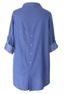 Koszula z podwijanymi rękawami SINDI - jeansKoszula z podwijanymi rękawami SINDI PASKI - jeansowyowy