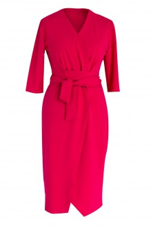 Malinowa sukienka z wiązaniem - VENEZIA