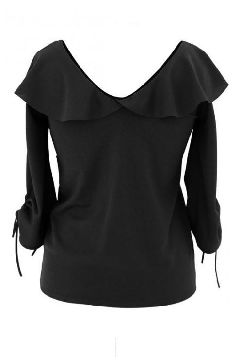Czarna bluzka z dekoltem V i ściąganym rękawem INGA