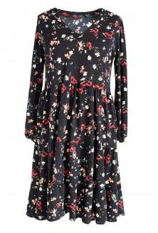 Czarna rozkloszowana sukienka w kwiatki RYAN