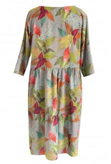 Szara sukienka w kolorowe liście BELLA