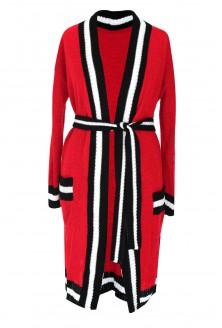 Czerwony długi wiązany sweter SUSANA