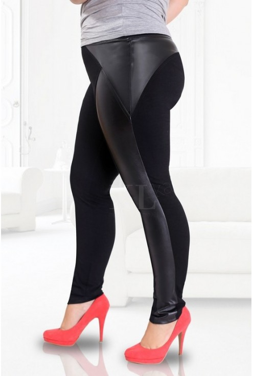 Czarne klasyczne legginsy z eco skórą - duże rozmiary JUDYTA