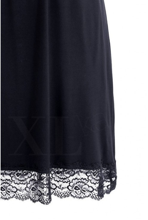Czarna koszulka nocna z głębokim dekoltem KAMILA